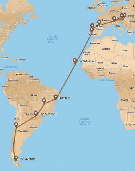 The planned route. Unfortunately, sailing doesn't fit into my schedule now
