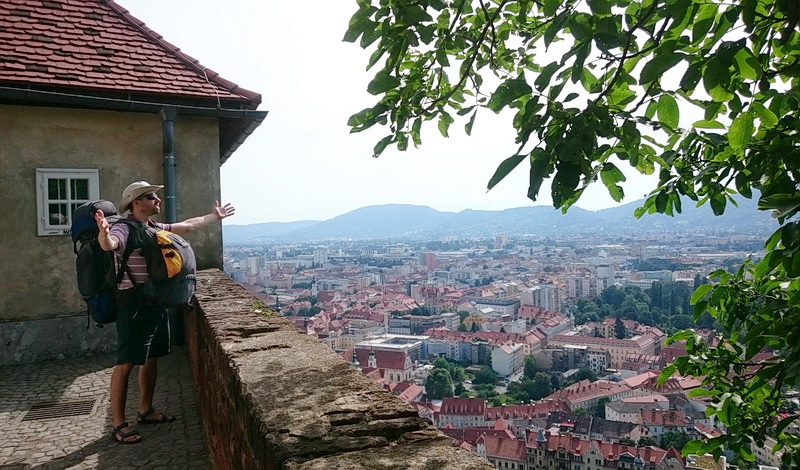 On my back is my house, on my belly is my office. This is still the city of Graz in the neighbouring Austria.
