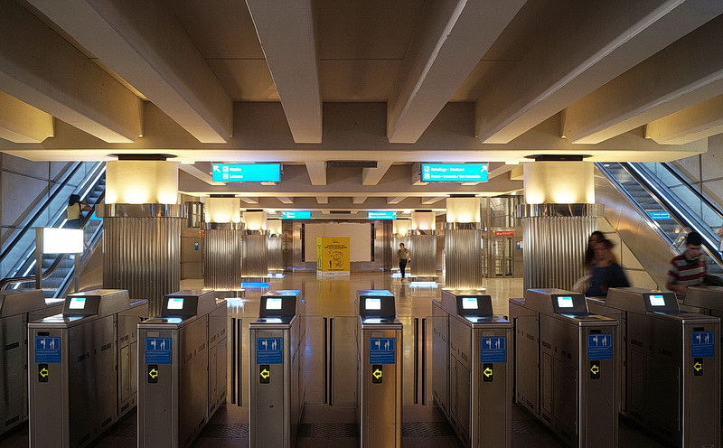 The stations on the 'Y-shape' two-line metro network, which opened in 1995, were designed by British architect Norman Foster and his team.