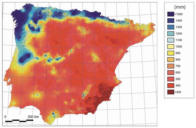 Annual rainfall in the Iberian Peninsula. (Source: Ninyerola, Pons and Roure - 2005.) According to Köppen's climate classification, desert can be found in Europe too (Tabernas Desert) – here in Spain, in the south-eastern region marked in dark red colour.