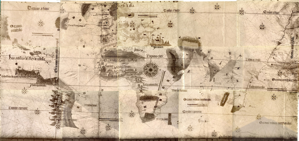 Cantino planisphere, 1502. Probably this Portuguese world map was the first that indicated parts of South America. Besides, the Spanish-Portuguese world division by the Treaty of Tordesillas (the line that runs through the Amazonas divided these two great powers) is also marked. Despite the Portuguese origin, its name sounds rather Italian, for an understandable reason: this 'treasure map' of extreme significance was smuggled to Italy by a secret agent of the Duke of Ferrara. (Map source: Cornell University Library)