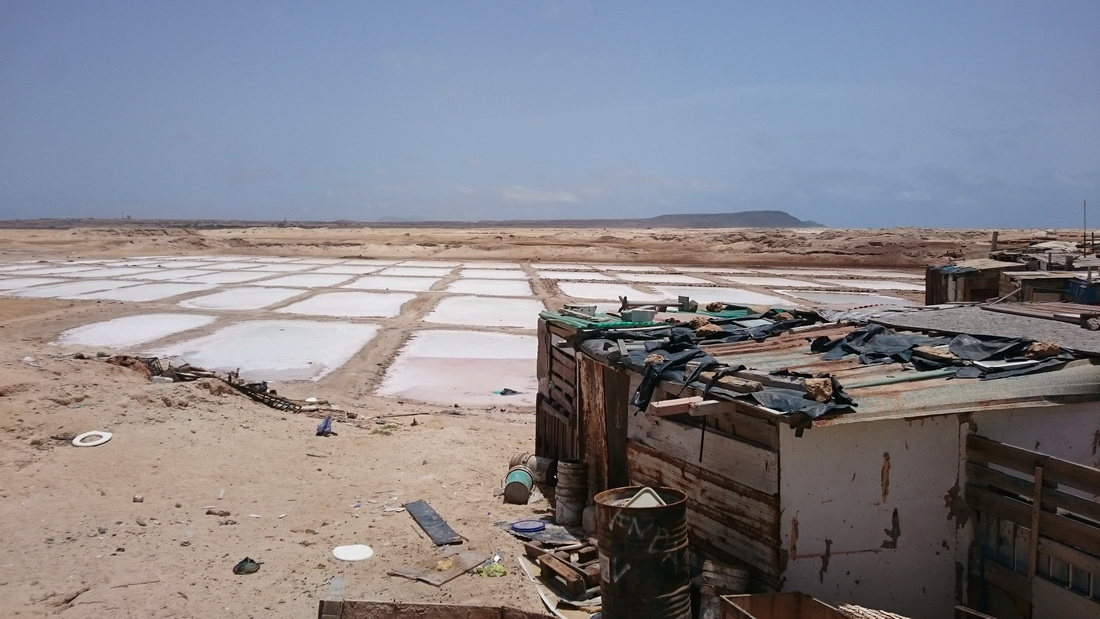 Evaporation ponds and next to me is the caretaker's hut in the outskirts of Santa Maria.