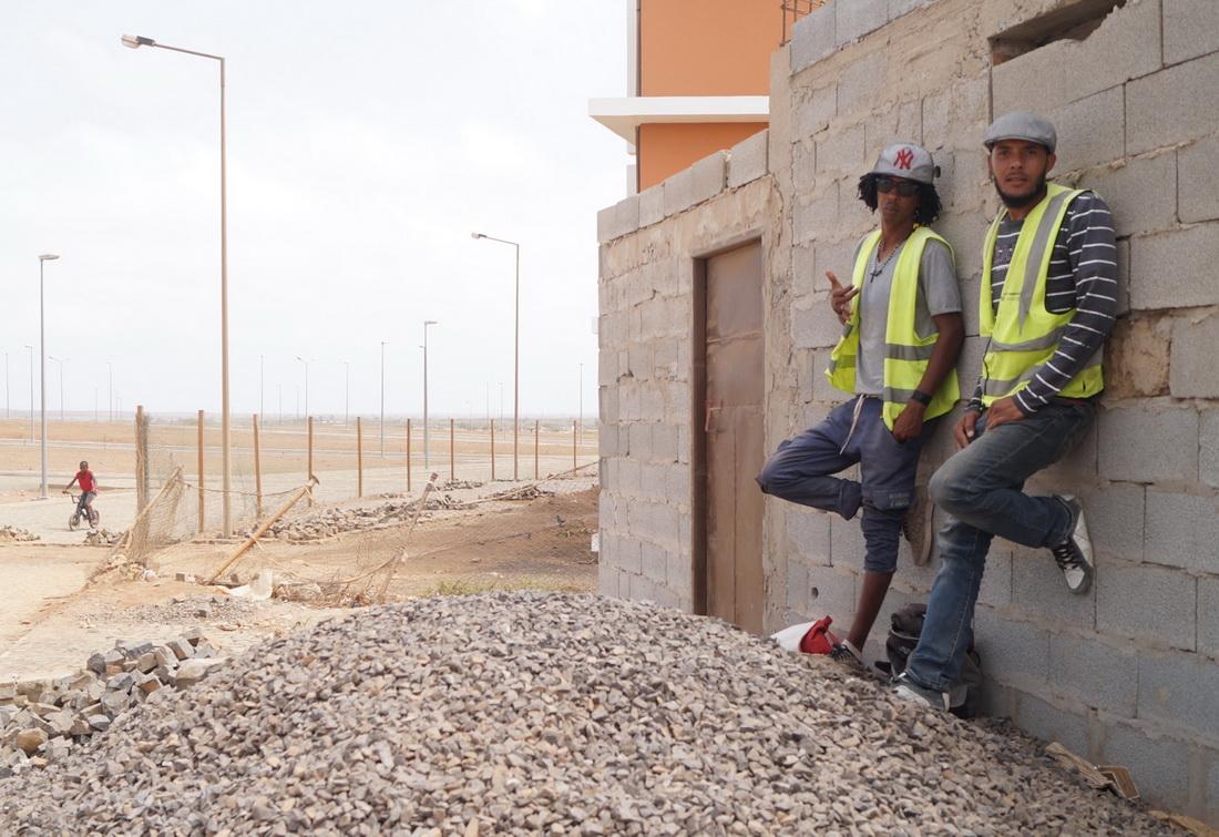 Builders of the new condominium are taking a break.