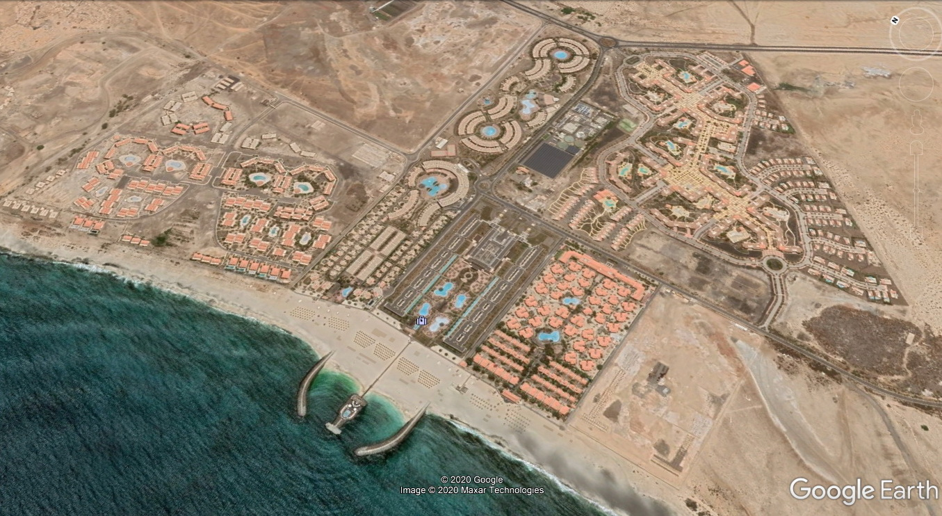 For example here: in one of the ever-expanding all-inclusive resort towns, between the country's busiest international airport and Santa Maria. Bouba works in one of these resorts. /Source: Google Earth/