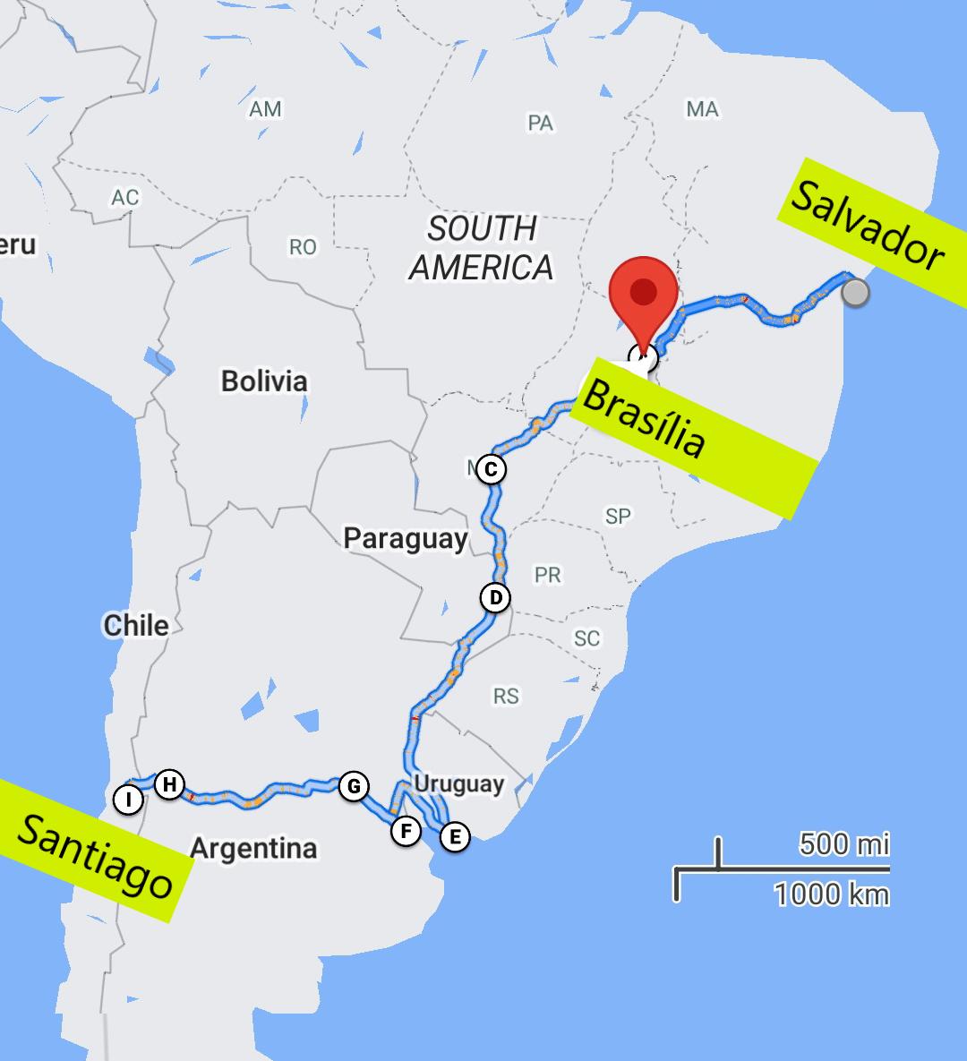 The next destination is Brasília / Source: Google Maps/